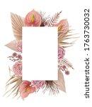invitation card in soft pink... | Shutterstock . vector #1763730032