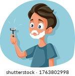 funny teenage boy shaving...   Shutterstock .eps vector #1763802998