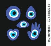 fatima eye doodle icons set ...   Shutterstock .eps vector #1763803358