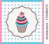 against,background,baked,blue,butter,cake,card,cream,cupcake,dessert,diet,eating,food,frosted,frosting
