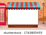 blank banner with awning in... | Shutterstock .eps vector #1763805455