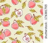 seamless pattern with apples. | Shutterstock .eps vector #176381705