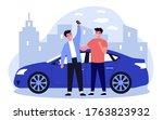 happy guys celebrating buying...   Shutterstock .eps vector #1763823932