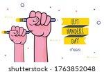 flat design happy left handers... | Shutterstock .eps vector #1763852048