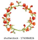 red floral round wreath with... | Shutterstock . vector #176386826