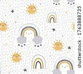 cute   childish seamless vector ... | Shutterstock .eps vector #1763888735