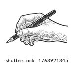 hand writes with a ballpoint...   Shutterstock .eps vector #1763921345
