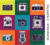 colorful collection of retro... | Shutterstock .eps vector #176395742