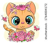 cute cartoon orange kitten with ... | Shutterstock .eps vector #1764004172