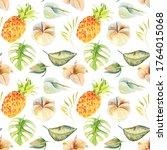 seamless pattern of watercolor... | Shutterstock . vector #1764015068