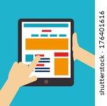 digital design over blue... | Shutterstock .eps vector #176401616