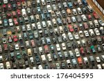 Aerial View Of Wrecked Cars In...
