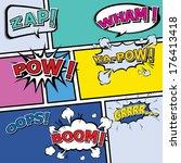 comic template vector pop art | Shutterstock .eps vector #176413418