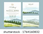 wedding invitation cards with... | Shutterstock .eps vector #1764160832