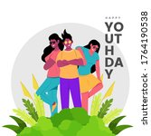 happy youth day vector...   Shutterstock .eps vector #1764190538