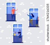 people living behavior ... | Shutterstock .eps vector #1764216335