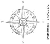 vector sketch wind rose | Shutterstock .eps vector #176422172