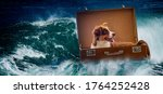 Big Sea Wave And Dog In Suitcase