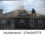 Fire Smoke Comes Out While Fir...