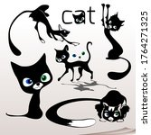 varied graceful cats with... | Shutterstock .eps vector #1764271325