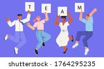 company workers  colleagues ... | Shutterstock .eps vector #1764295235