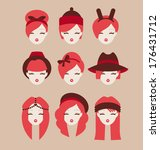 fashion girls icon set vector... | Shutterstock .eps vector #176431712