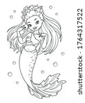 beautiful mermaid fashionista... | Shutterstock .eps vector #1764317522