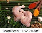 Skinless Raw Chicken Leg...