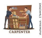 Carpenters At Workshop Cartoon...