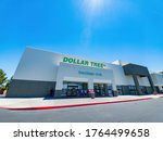 Small photo of Las Vegas, JUN 7, 2020 -Exterior view of the budge Dollar Tree store