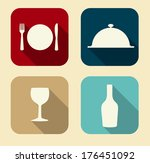 modern flat food icon set for... | Shutterstock . vector #176451092