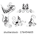 key notes with floral elements | Shutterstock .eps vector #176454605