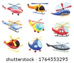Helicopter Icons Set. Cartoon...