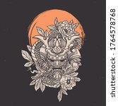 Hand Drawn Vintage Skull Oni...