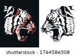 silhouette tiger head roaring... | Shutterstock .eps vector #1764586508