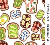 seamless pattern of toasts on... | Shutterstock .eps vector #1764596168