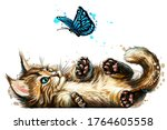 a kitten is playing with a... | Shutterstock .eps vector #1764605558