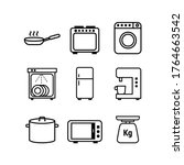 vector icons. kitchen icons.... | Shutterstock .eps vector #1764663542