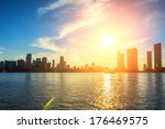 miami florida  sunset  with... | Shutterstock . vector #176469575