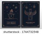 luxury christmas cards set.... | Shutterstock .eps vector #1764732548
