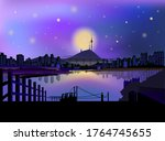 vector  the dreamy night sky... | Shutterstock .eps vector #1764745655