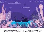 Swan Animal Seamless Pattern...