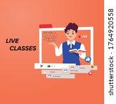 online learning  e learning ... | Shutterstock .eps vector #1764920558