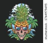 skull pineapple head with... | Shutterstock .eps vector #1764975695