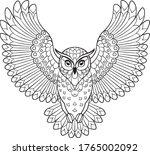 owl in flight line art. vector... | Shutterstock .eps vector #1765002092