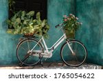 White Vintage Bike With Basket...