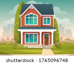 residential two story cozy... | Shutterstock .eps vector #1765096748