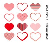 heart set. red valentine...   Shutterstock . vector #176511935