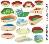 cartoon sport stadium icons set....