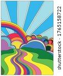 blooming hills psychedelic art...   Shutterstock .eps vector #1765158722
